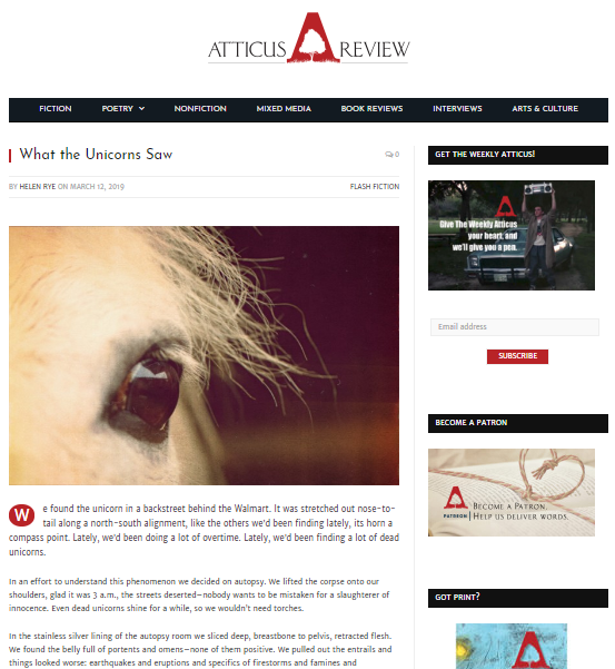 Atticus Review – What The UnicornsSaw